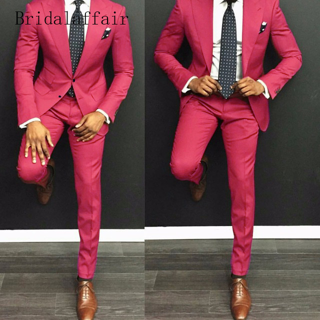 Bridalaffair Tailor Hot Pink Mens Suits Casual Suit Men Slim Fit Custom Made Wedding Groom Tuxedo Blazer (Jacket+Pants) 2 Pieces