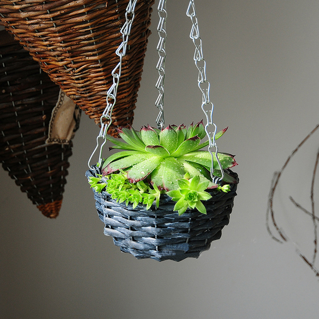 Pastism Handmade Wickerwork Celling Hanging Plant Pot Novelty Garden Planter Indoor Flower Baskets Small