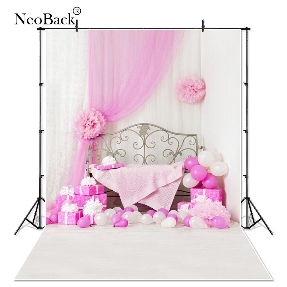 NeoBack 5x7ft Vinyl Cloth Children Kids Birthday Balloon Photography Backgrounds New Born Baby Photo Studio Backdrops P0767