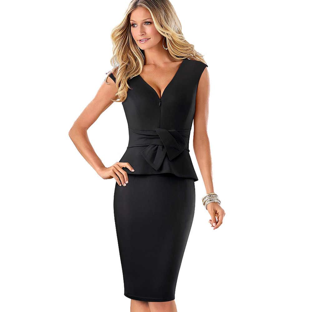 Женское винтажное деловое платье Nice-forever, облегающее и винтажное платье-футляр для офиса красного или черного цвета с V-образным вырезом, молнией и оборками, 2019