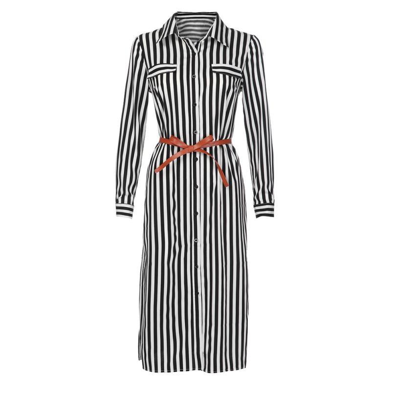 KANCOOLD Dress Women fashion Stripe Printed Long Sleeves Button Dress Bandage Belt Shirt Long Dress women 18AUG8 6
