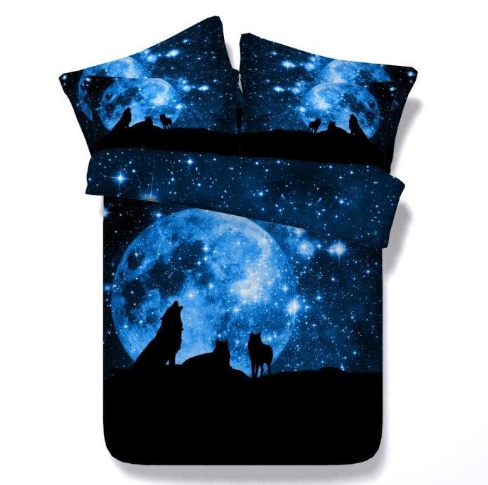 3D солнцем, Луной и звездами волк постельного белья утешитель набор одеяло пододеяльник простыня белье покрывало CAL king queen size ПОЛНЫЙ TWIN 5 шт.