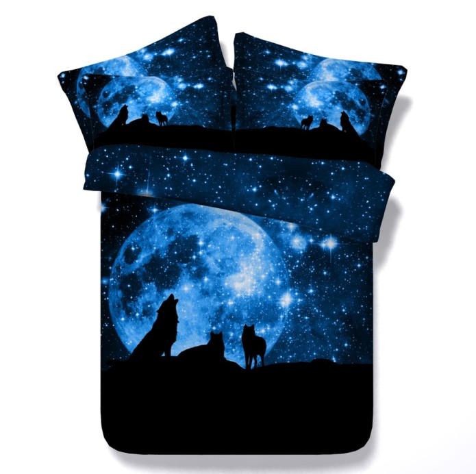 3d Sun Moon Stars Wolf Bedding Sets Comforter Set Quilt