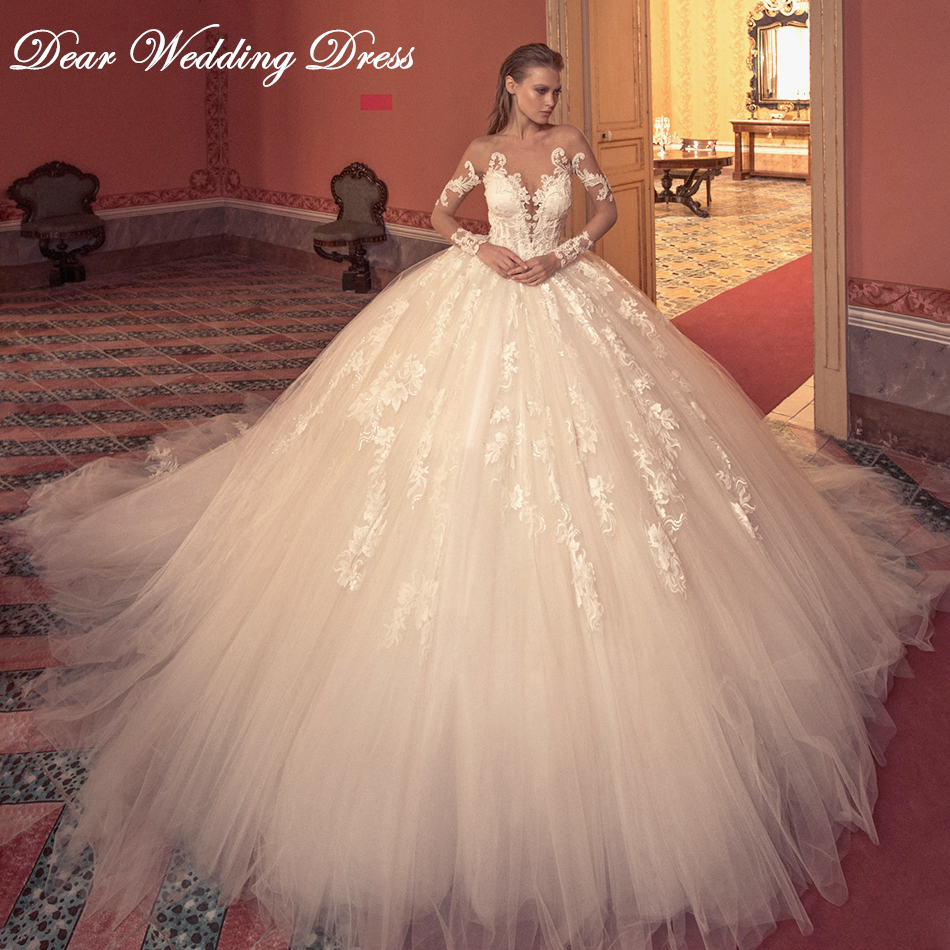 Luxury Beaded Long Sleeve Illusion Back Wedding Dress 2019 Sexy V-neckline Cathedral Train Princess Wedding Gowns Plus Size