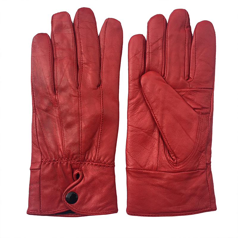 New Women's Genuine Leather Gloves Red/Black Sheepskin Finger Touch Screen Gloves Winter Thick Warm Fashion Mittens G12
