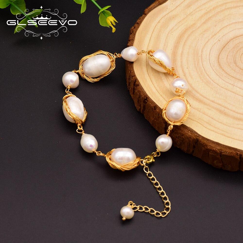 GLSEEVO Natural Fresh Water Baroque Pearl Bracelets For Women Engagement Gift Adjustable Bracelets & Bangle Fine Jewelry GB0055