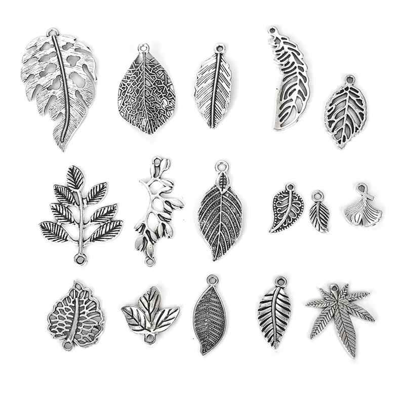 16pcs Antique Silver Zinc Alloy Mixed Leaf Charms Pendants for Bracelets Branch Charm Jewelry Accessories Findings DIY Wholesale