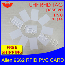 UHF RFID tag PVC card Alien 9662 EPC6C 915mhz 868mhz 860-960MHZ Higgs3 10pcs free shipping long range smart passive RFID tags