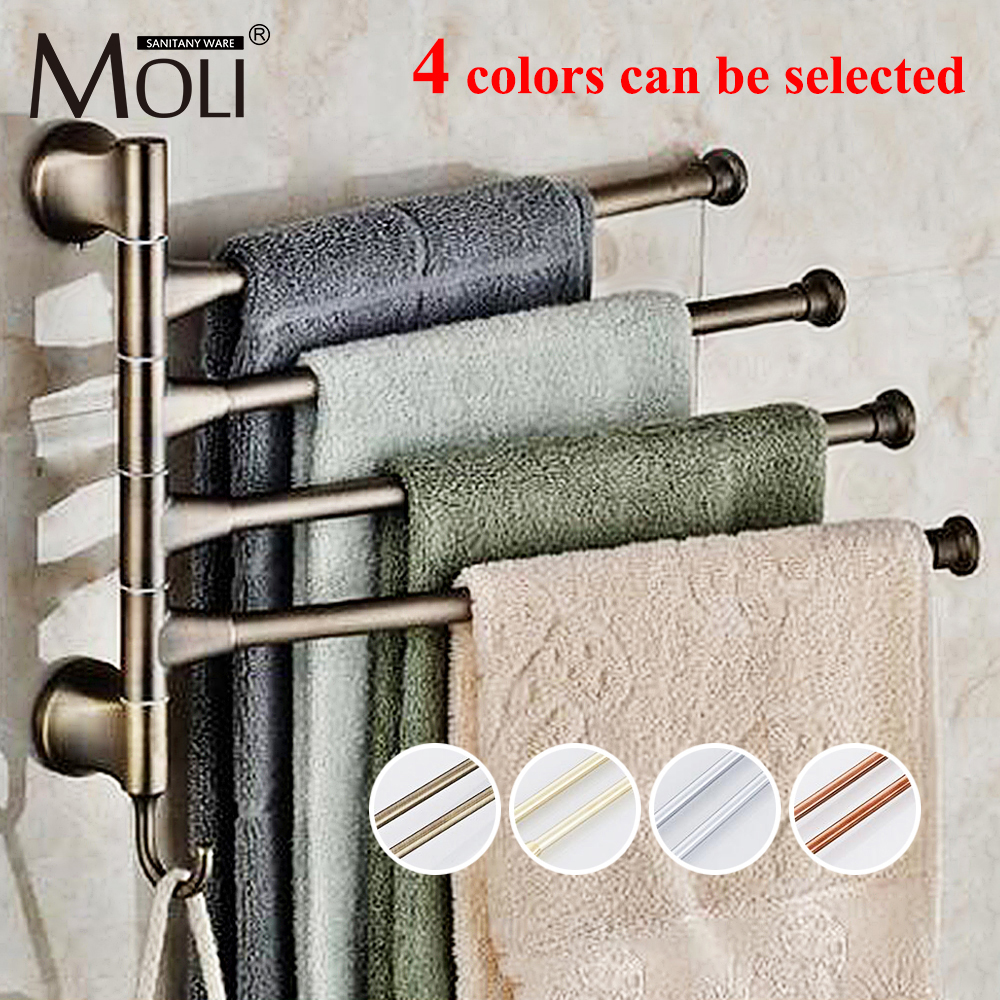 Stainless Steel Towel Bars Antique Bronze Finish Rotate Multi Color Towel Rack Holder Set Bathroom Accessories new arrival bathroom towel rack luxury antique copper towel bars contemporary stainless steel bathroom accessories 60cm k301