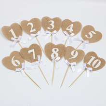 10pcs/set Jute Hessian heart shape burlap Table Number table cards from 1 to10 rustic wedding tag decor vintage decoration