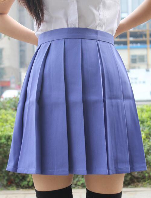 Ngjyra e ujit Fustan japonez me bel të lartë pleated JK studente - Veshje për femra - Foto 5