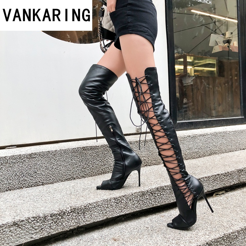 brand fashion cut-outs PU leather runway boots women over the knee high boots pointed toe high heels ladies chelsea summer bootsbrand fashion cut-outs PU leather runway boots women over the knee high boots pointed toe high heels ladies chelsea summer boots