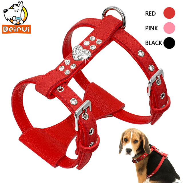 Soft Small Medium Dog Harness Durable and Adjustable Padded Leather