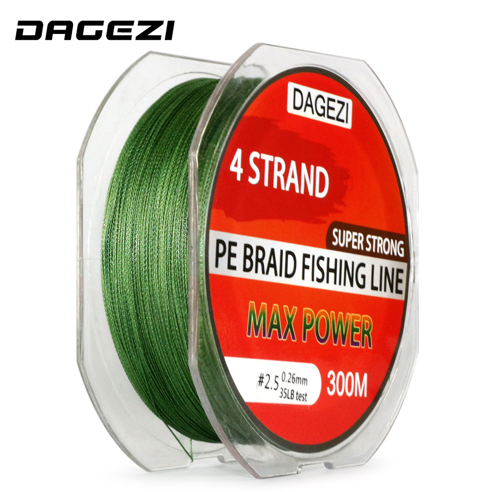 DAGEZI Super Strong 4 strand 300M/330YDS 100% PE Braided Fishing Line 10-80LB Multifilament Fishing Line Carp Fishing Saltwater pro beros 300m pe multifilament braided fishing line super strong fishing line rope 4 strands carp fishing rope cord 6lb 80lb