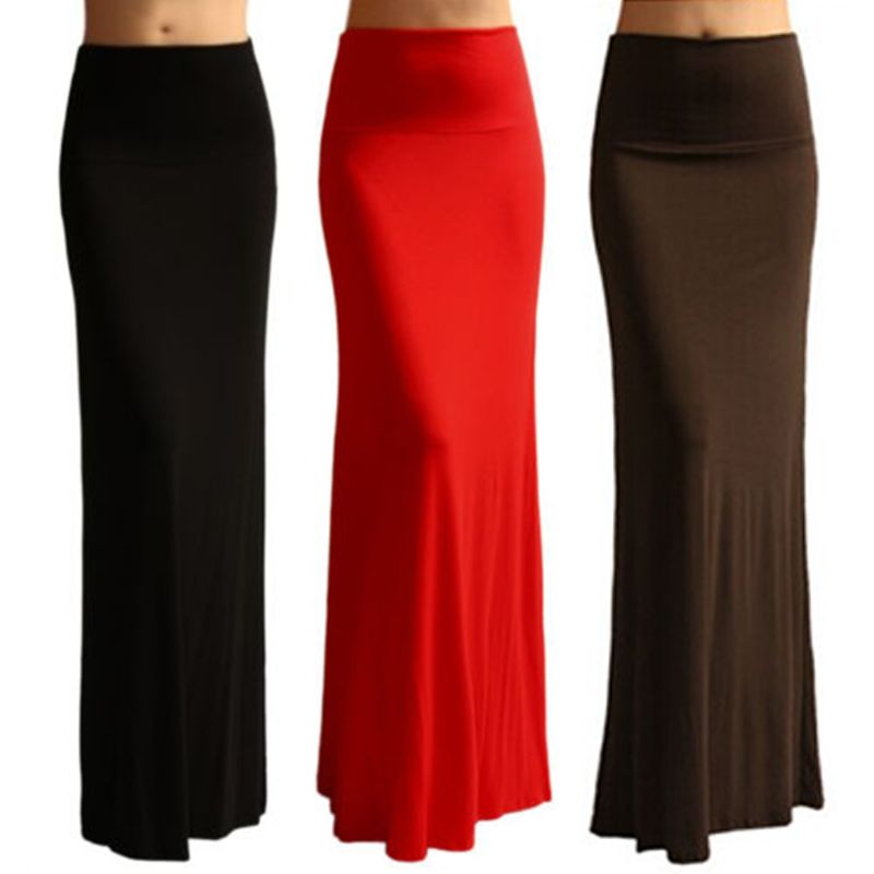 Ladies Women High Waist Flare Fishtail Maxi Long Skirt Solid Color Pleated Package Hip A-Line Pencil Skirt