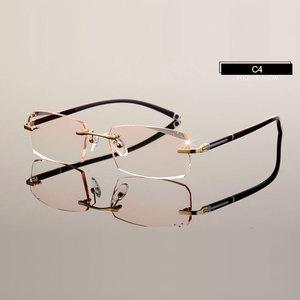 Image 5 - Fashion Eyeglasses A001 Diamond Trimming Cutting Rimless Eyeglasses Prescription Optical Glasses Frame for Men Eyewear