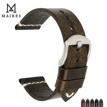 MAIKES Oil Wax Cow Leather Watch Band 20mm 22mm 24mm Strap Men Accessries Vintage Bracelet Watchband For Omega