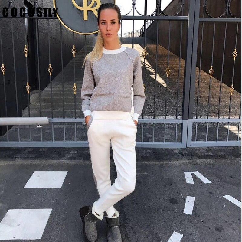 Casual Piezas Dos Mujeres Sudor Y Plazas Conjunto Pantalones Sudadera Trajes Gray Para De Chándal Jersey apricot Las xn1w75XO7