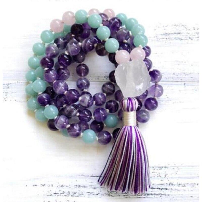 8mm Natürliche Lila Rosa Kristall 108 Perlen Quaste Mala Hand Verknotet Yoga Energie Healing Halskette Mode Frauen Schmuck Dropship