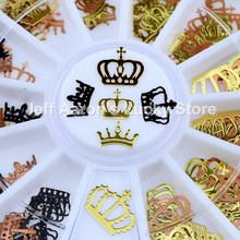 Ouro preto metal coroa imperial unhas folhas decalques fatia roda unhas arte decorações ferramentas de design