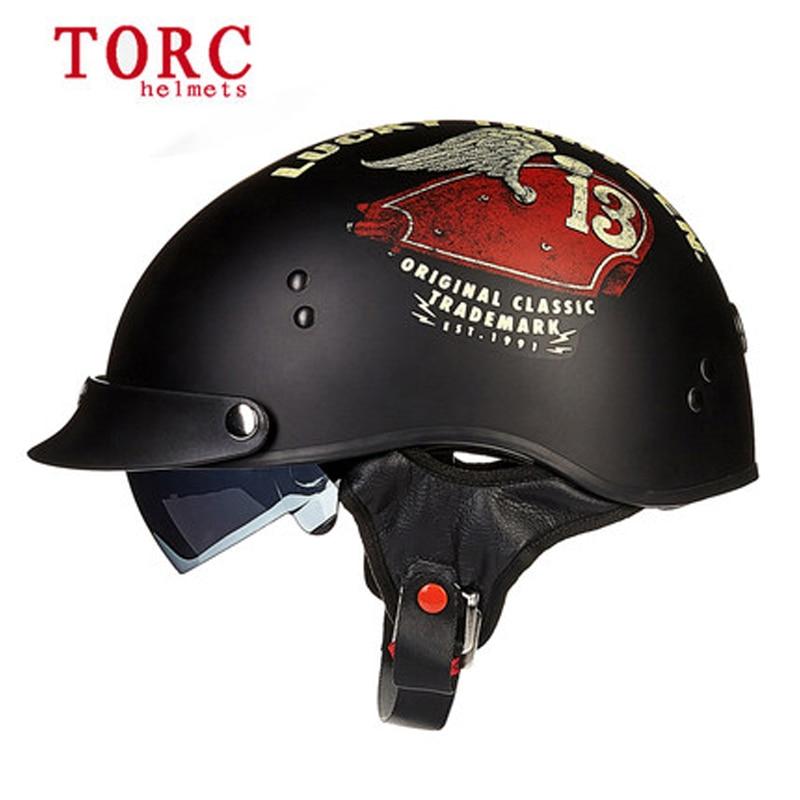ФОТО New arrive Torc T-55 retro motorcycle half face helmet With Inner Sun Visor Casco Casque Moto Harley Retro vintage Helmets dot