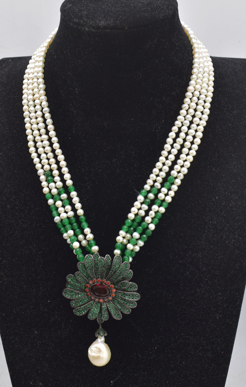4rows  freshwater pearl white near round 3-5mm &green jade&  zircon flower pendant necklace  nature FPPJ wholesale beads