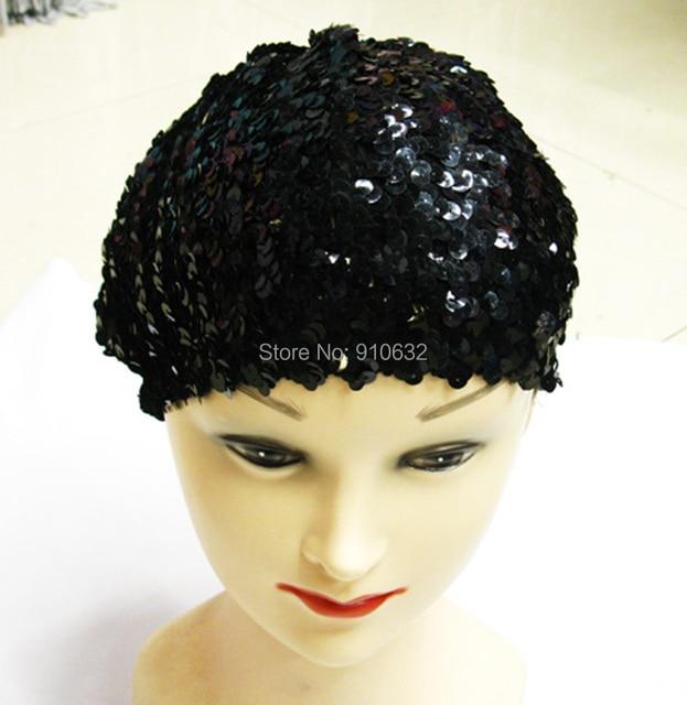 43237cc6fbd07 1 Piece Black Silver Women Lady Sparkly Shining Sequin Beret Hat Beanie Cap  Club Dance Adjustable