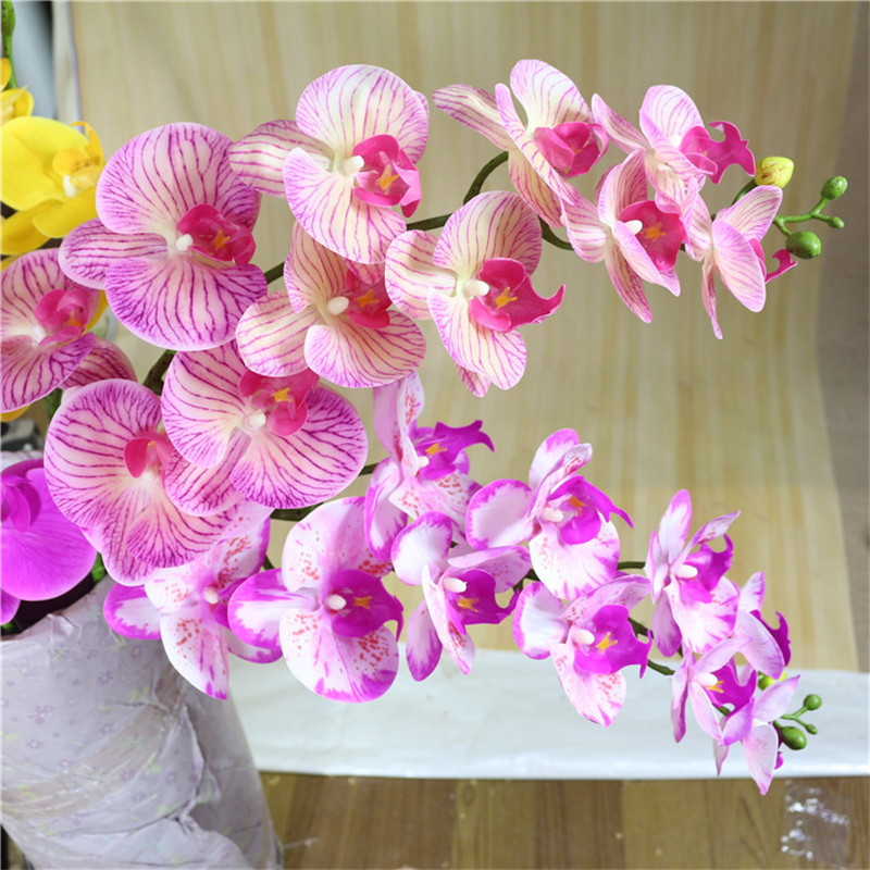 PVC Artificial Butterfly Orchid Silk Leaf Fake Flower Garden Party Home Decor Uk