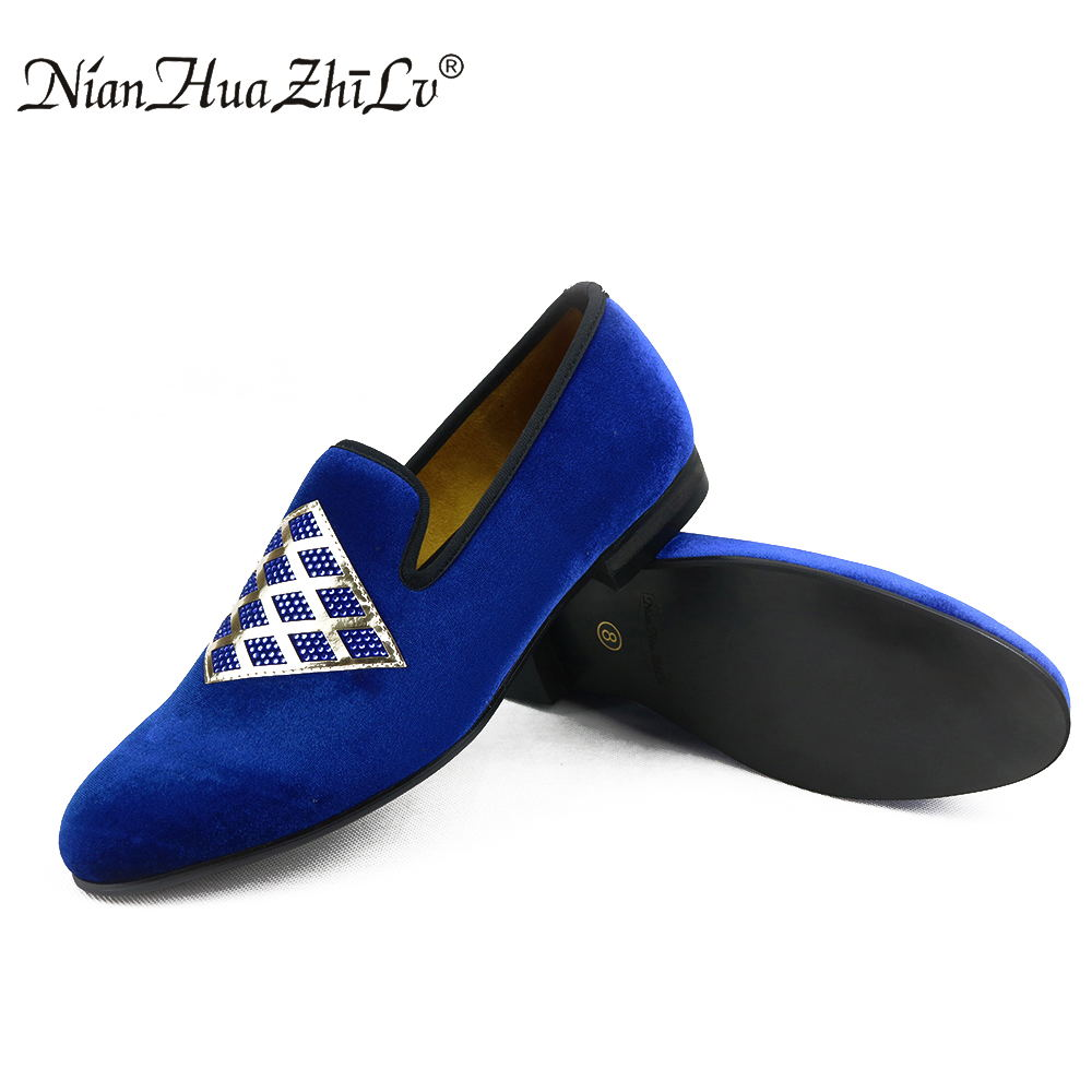 2017 New Handmade men veivet shoes with sequins and rhinestones Prom Banquet men wedding and party loafers men's flat