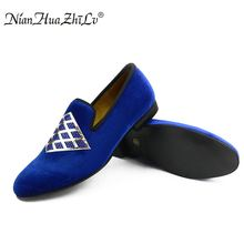 2017 New Handmade men veivet shoes with sequins and rhinestones Prom Banquet men wedding and party loafers men's flat недорого