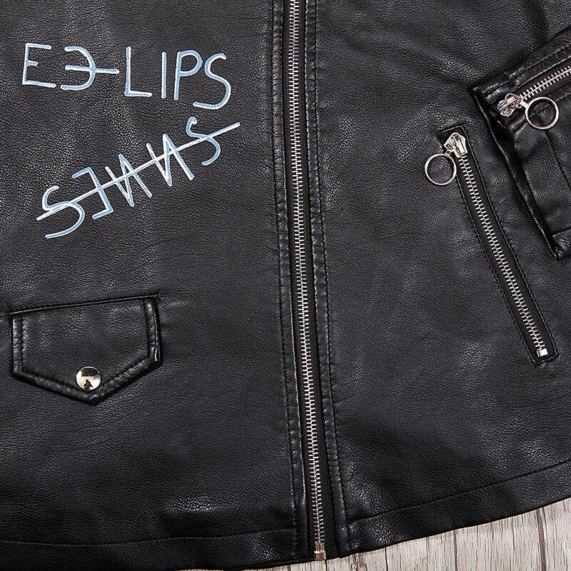 Glo Pu Veste Noir Biker Zipper Manteaux Mode story Femme 5595 Base Black Mince Cuir 2018 Automne Épaulette De Rue Femmes En rwPrSqXOg
