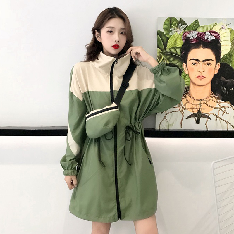 2019 New Fashion Contrast Color Overcoat   Trench   Windbreaker Women   Trench   Waistband Coat Chic Design Female Long Sleeve   Trench