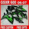 100 Brand New Fairings For Gloosy Green Black SUZUKI 2006 2007 Plastic Moto GSXR 600 750