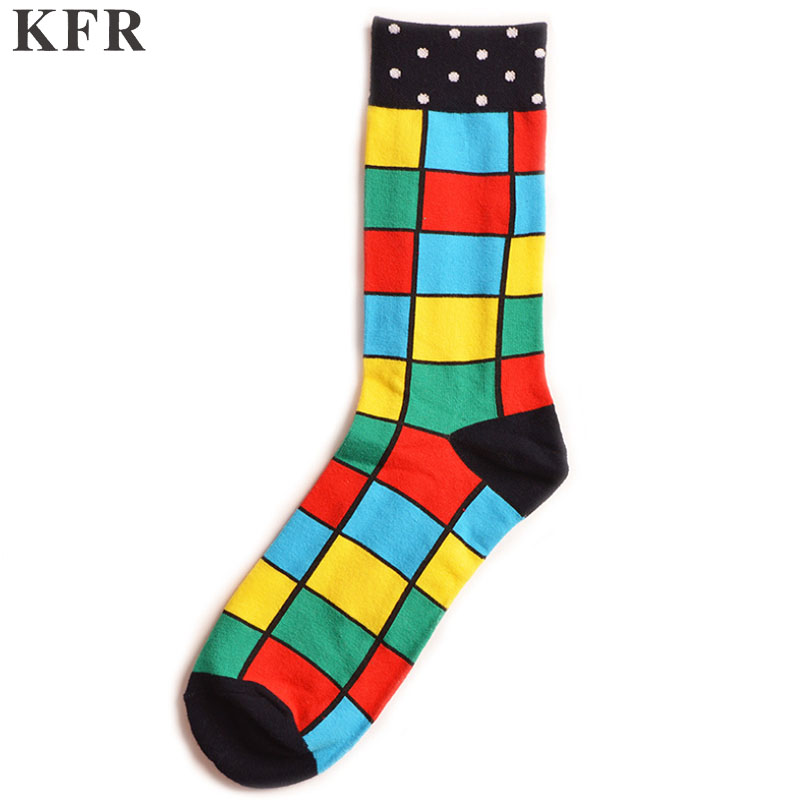 Happy Socks Colorful striped lattice Funny Mens Socks Mens Cotton Skateboard Hip Hop Street Crew Harajuku Art Fashion Short Sock in Men 39 s Socks from Underwear amp Sleepwears