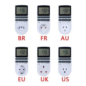 """Image 2 - אלקטרוני דיגיטלי טיימר מתג 24 שעה מחזורי האיחוד האירופי בבריטניה AU ארה""""ב FR BR תקע מטבח טיימר לתכנות לשקע עיתוי שקע 220V"""