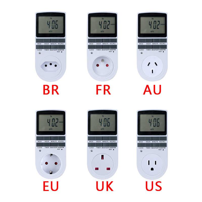 Elektroniczny cyfrowy włącznik czasowy 24 godziny cykliczne ue UK AU nas FR BR kuchenne timera wylot programowalny gniazdo rozrządu 220 V