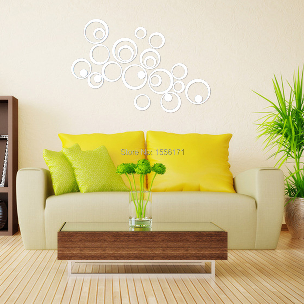 DIY 25pcs Artistic Round Wall Stickers Silver 3D Acrylic Mirror ...