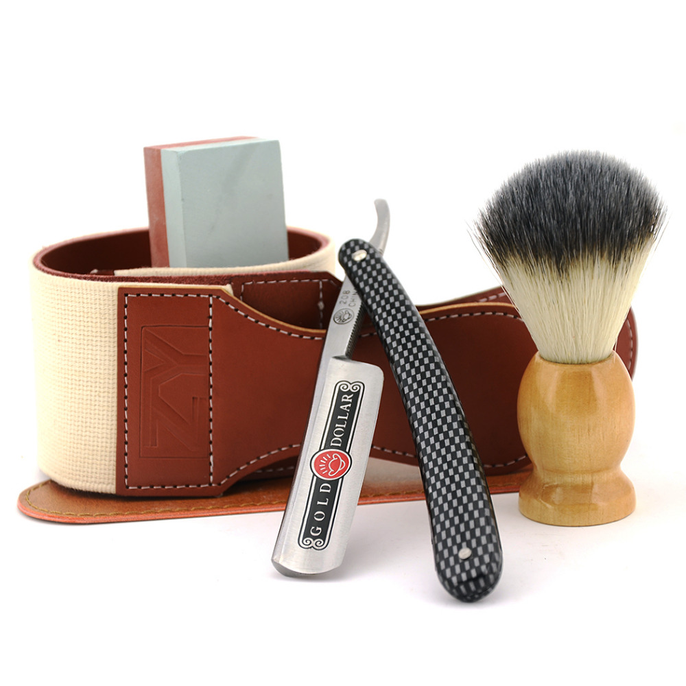 Men Shaving Straight Razor Cut Throat Knife Gold Dollar + 400/1500# Sharpening Whetstone Stone + Synthetic Nylon Brush + Strop gold dollar 208 straight razor cut throat shaving knife leather belt sharpening razor strop sharpener for men shave beard