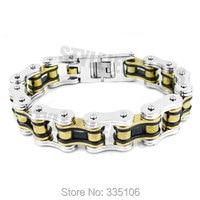 Free shipping! Black Gold Silver Heavy Bicycle Chain Biker Bracelet Stainless Steel Jewelry Motor Biker Men Bracelet SJB0267