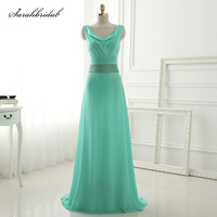 New Arrivals Turquoise Bridesmaid Dresses A Line Sleeveless Tulle Vestidos De Baile Customized Pron Dresses Gowns SLD393