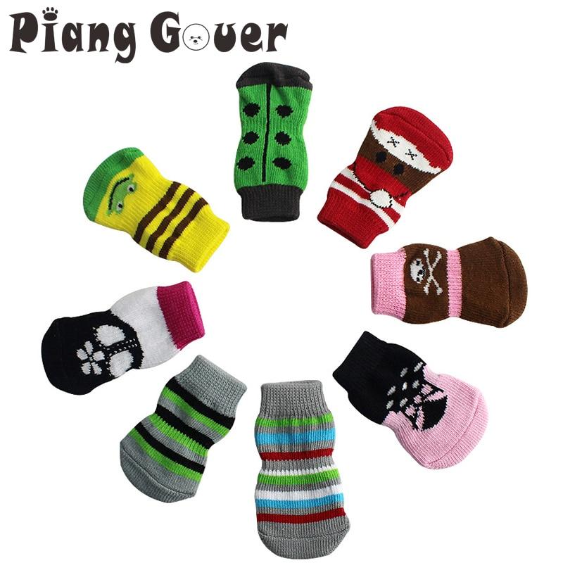 4Pcs/Set Soft Frog Dog Socks Lovely Non-slip Dogs Sock Clothes Apparels hockey sock