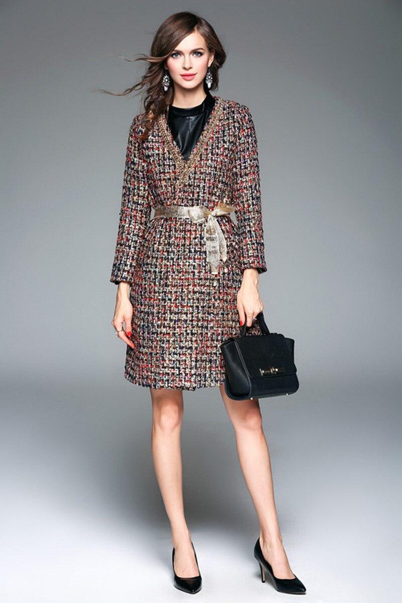 2019 spring autumn V neck belt tweed coat Fashion elegant overcoat E456 in Wool amp Blends from Women 39 s Clothing