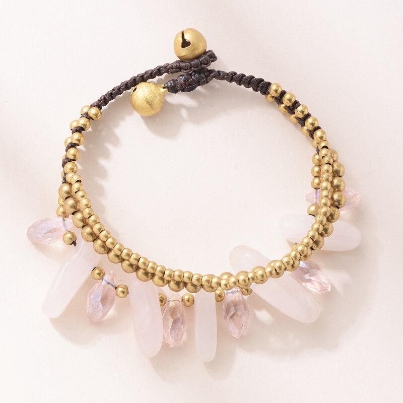 Purple Pink White Charm Beaded Bracelets