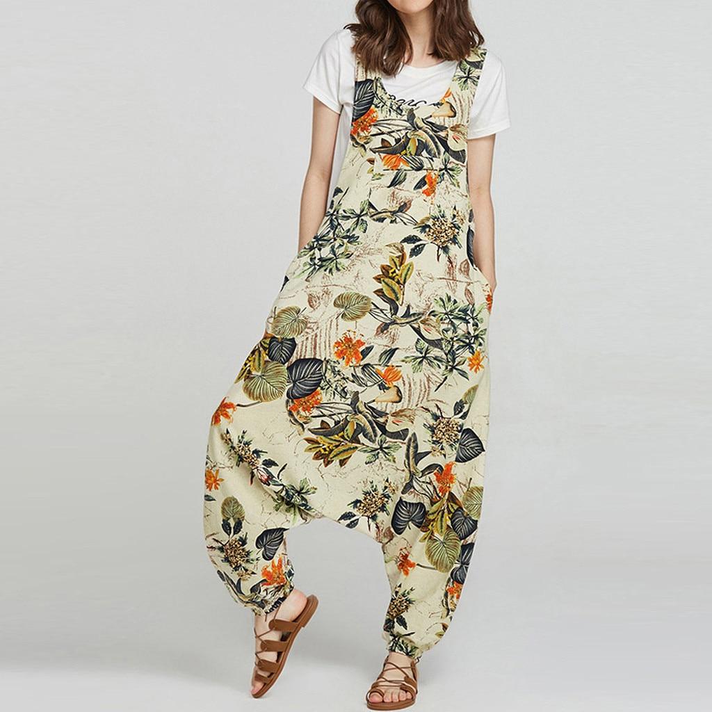 Jumpsuit Women Overalls Dungarees Cotton Linen Plus-Size Rompers Print Loose Retro