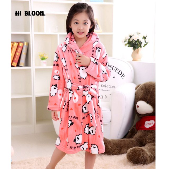 5593f2dfb6 Brand Flannel Children s Bathrobe Kids Winter Pink Home Wear Soft Pajamas  Girl Cartoon Sheep peignoir enfant Gown Hooded Robes