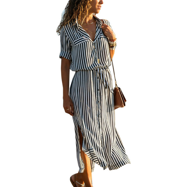 411e16cb52d Summer Striped Chiffon Dress Women 2019 Casual Long Sleeve Turn-Down Shirt  Dresses Side Split Bandage Beach Dress Vestidos Mujer