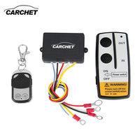 CARCHET Universal Wireless Winch Remote Control Kit 12V 50ft 2 Remotes With Indicator Light Car Detector