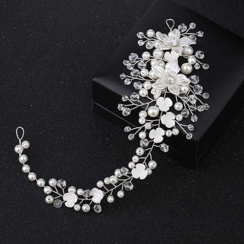 Bride Headband Pearl Floral Jewelry Women Wedding Hair Band Handmade Decoration