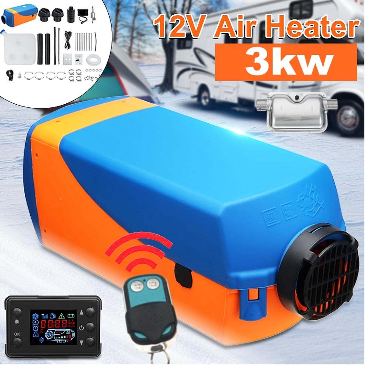 12V 3KW Ar Diesel Aquecedor de Estacionamento Ar Aquecedor Com Controle Remoto Display Digital LCD para Reboque de Barco Motorhome Silenciador Para livre