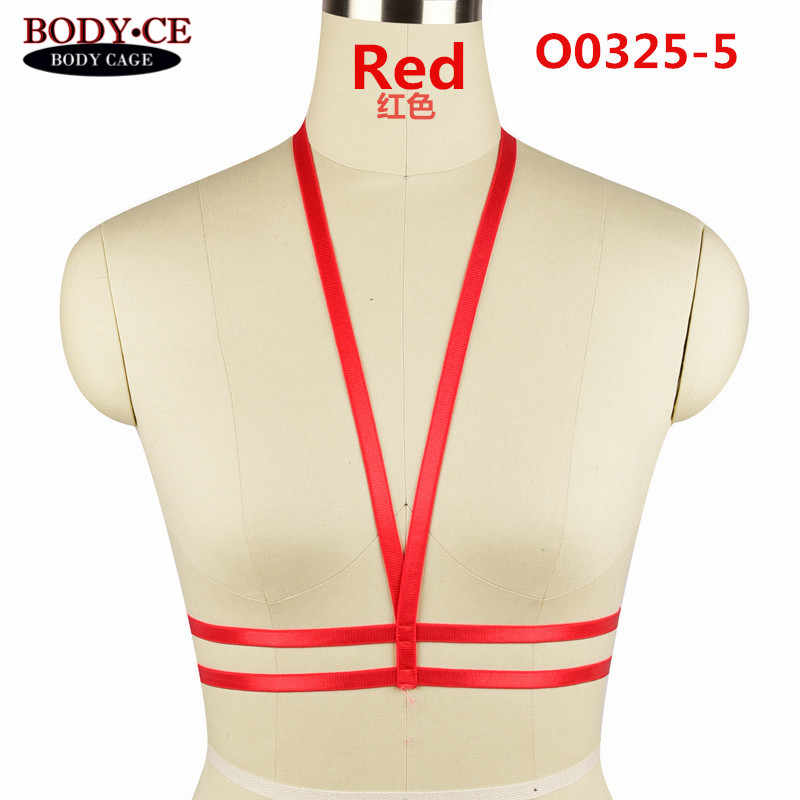 Arnés de cuerpo para mujer Lencería cinturón negro-rojo-blanco elástico jaula Bustier Bondage ropa interior Punk Goth Crop Tops fetiche desgaste de la danza